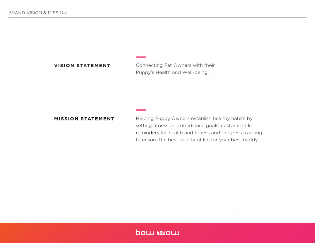 Bow Wow Branding vision and mission statements